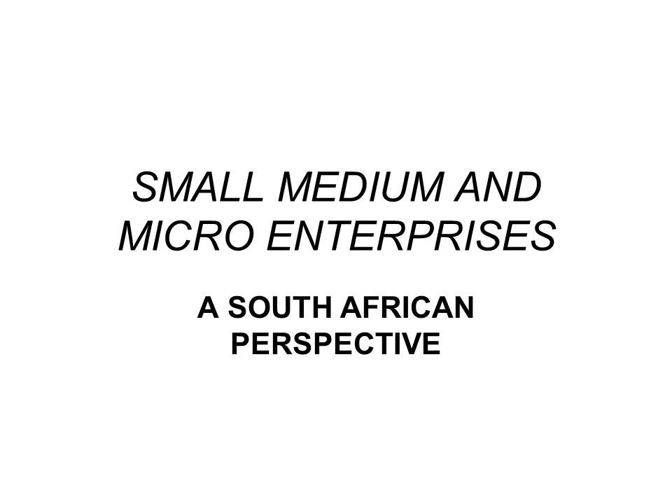 SMALL MEDIUM AND MICRO ENTERPRISES A SOUTH AFRICAN PERSPECTIVE