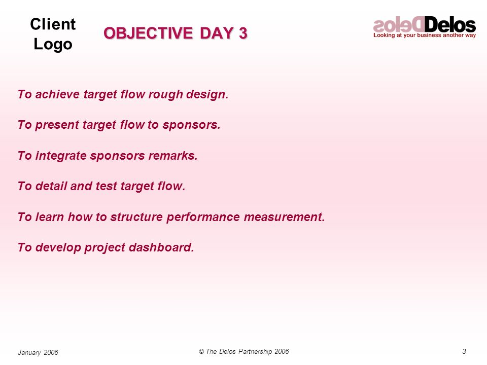 Client Logo 3© The Delos Partnership 2006 January 2006 OBJECTIVE DAY 3 To achieve target flow rough design.