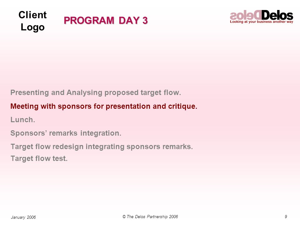 Client Logo 9© The Delos Partnership 2006 January 2006 PROGRAM DAY 3 Presenting and Analysing proposed target flow.