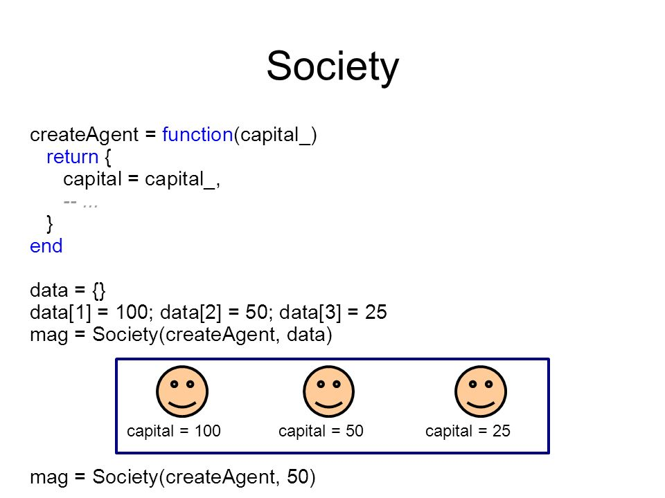 createAgent = function(capital_) return { capital = capital_, --...