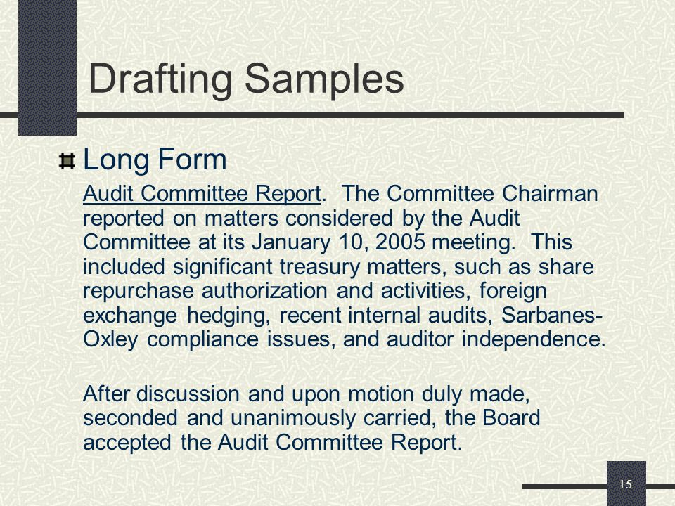 15 Drafting Samples Long Form Audit Committee Report.