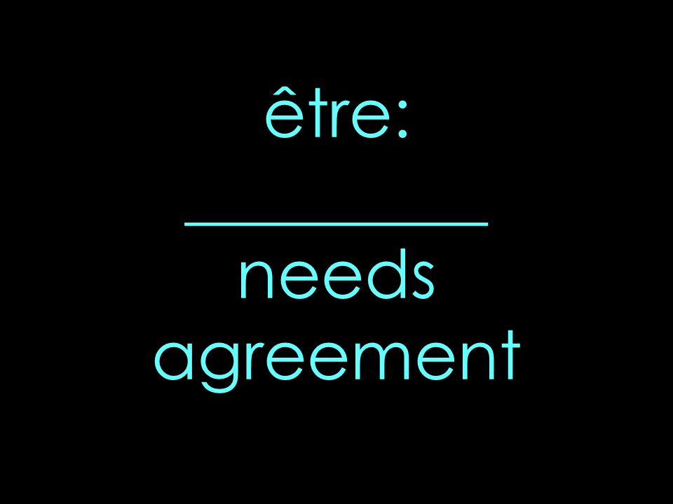 être: _________ needs agreement