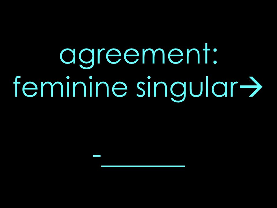 agreement: feminine singular -______
