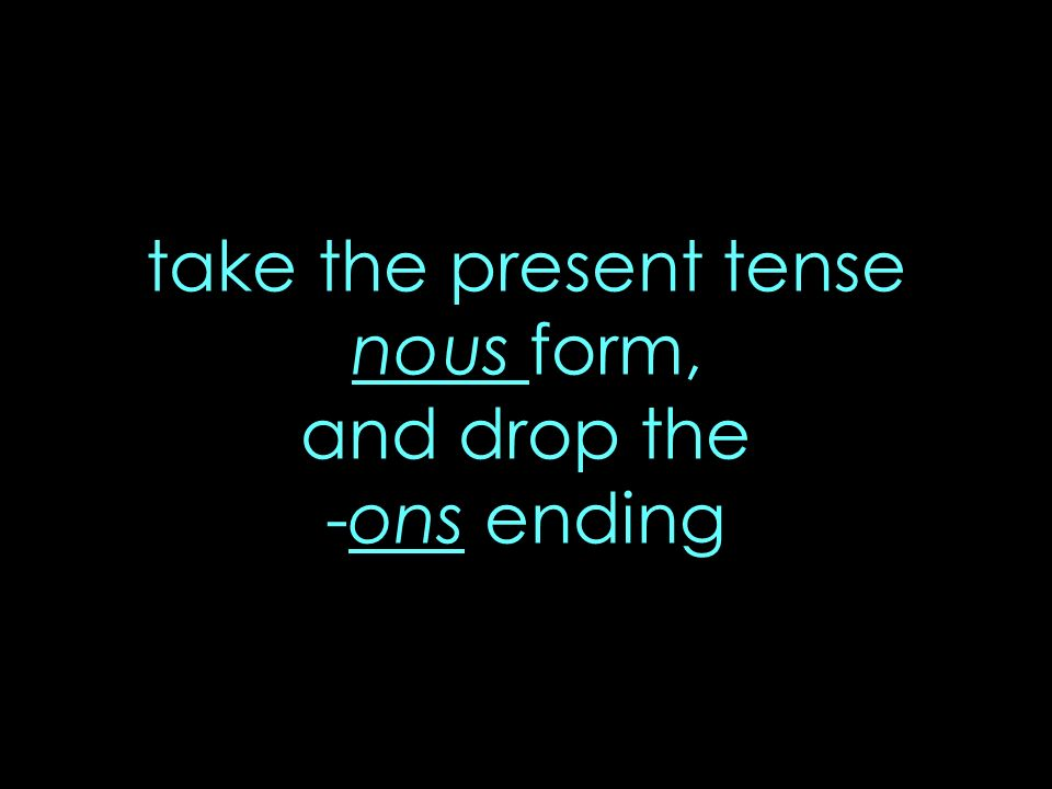 take the present tense nous form, and drop the -ons ending