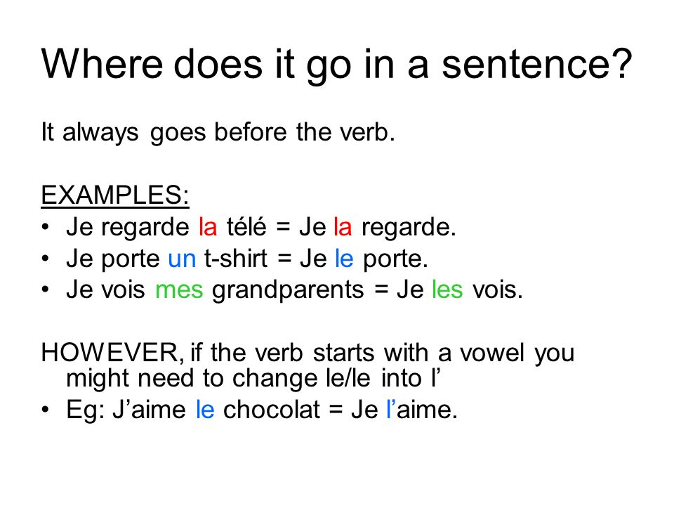 Where does it go in a sentence. It always goes before the verb.
