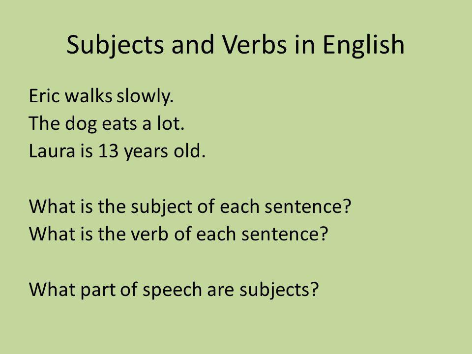 Subjects and Verbs in English Eric walks slowly. The dog eats a lot.