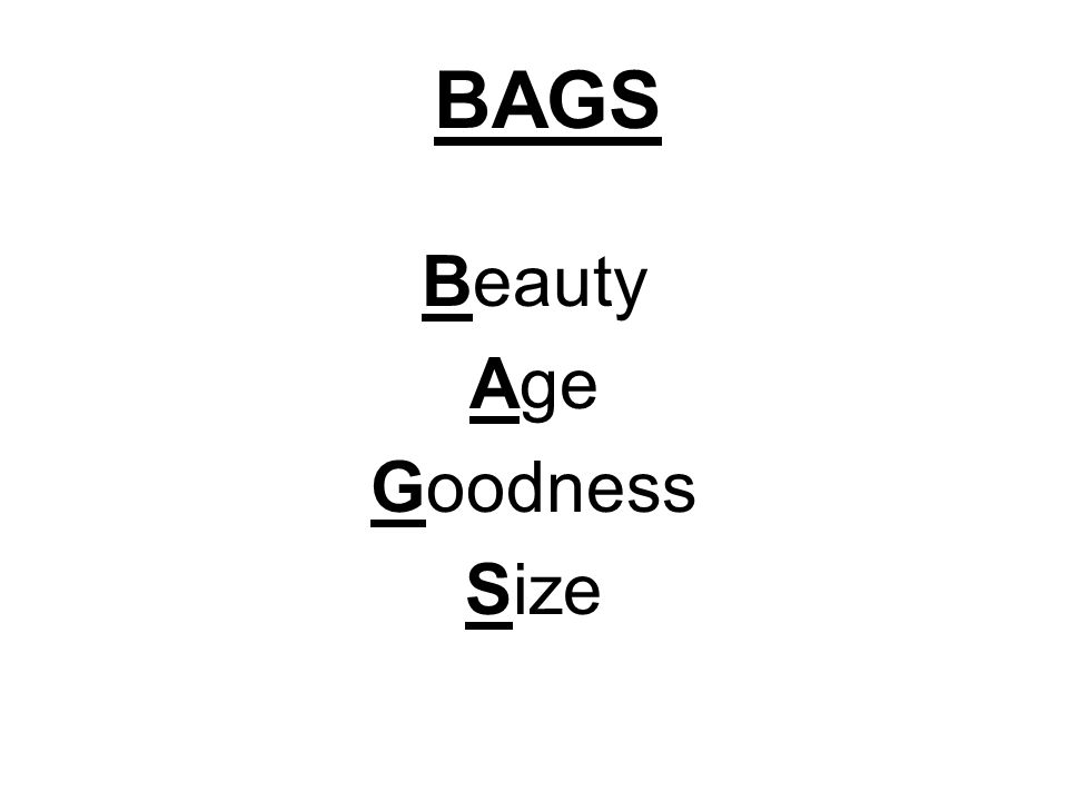 Beauty Age Goodness Size BAGS