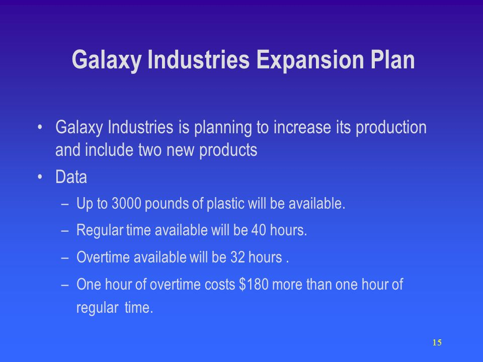 15 Galaxy Industries Expansion Plan Galaxy Industries is planning to increase its production and include two new products Data –Up to 3000 pounds of plastic will be available.