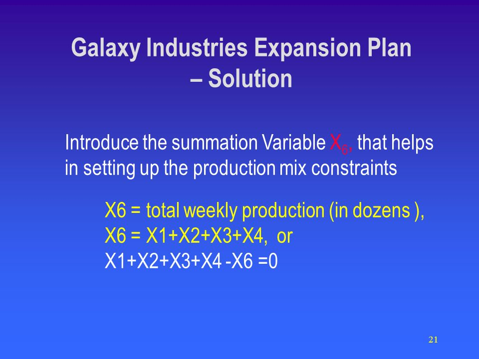 21 Introduce the summation Variable X 6, that helps in setting up the production mix constraints X6 = total weekly production (in dozens ), X6 = X1+X2+X3+X4, or X1+X2+X3+X4 -X6 =0 Galaxy Industries Expansion Plan – Solution