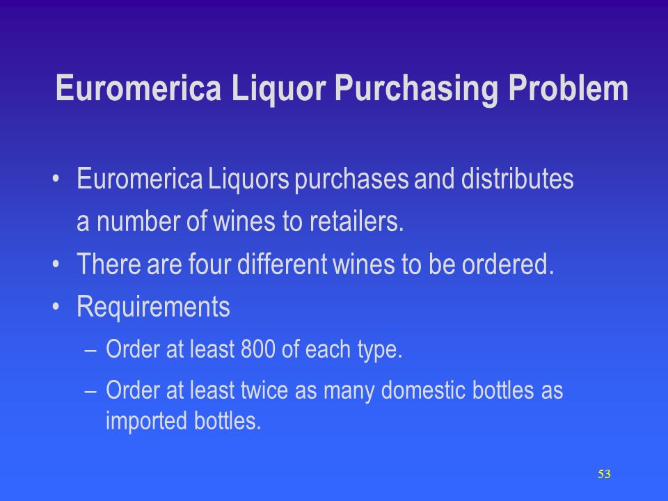 53 Euromerica Liquor Purchasing Problem Euromerica Liquors purchases and distributes a number of wines to retailers.