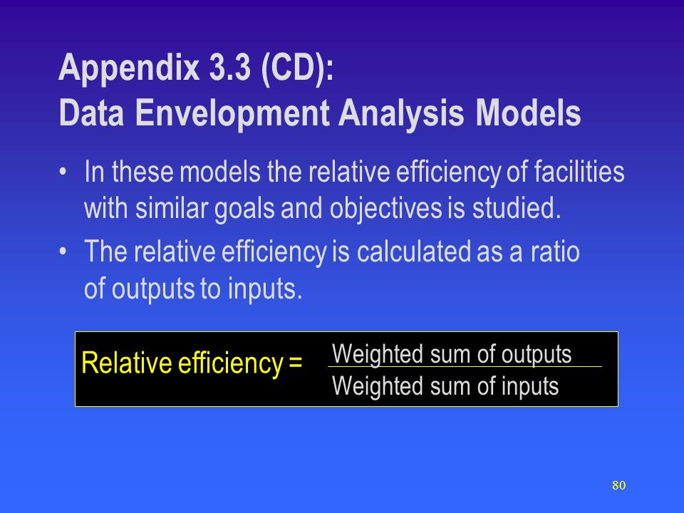 80 Appendix 3.3 (CD): Data Envelopment Analysis Models Relative efficiency = In these models the relative efficiency of facilities with similar goals and objectives is studied.