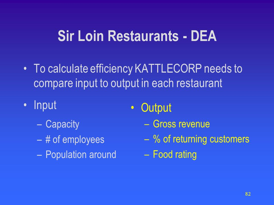 82 Sir Loin Restaurants - DEA To calculate efficiency KATTLECORP needs to compare input to output in each restaurant Input –Capacity –# of employees –Population around Output –Gross revenue –% of returning customers –Food rating