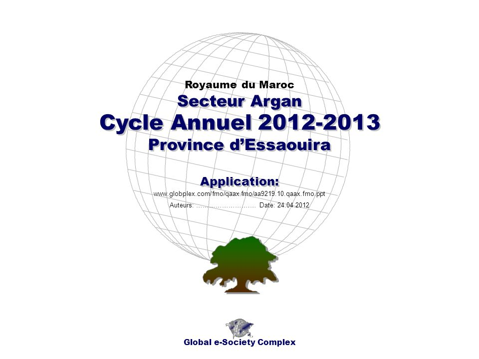 Cycle Annuel 2012-2013 Province dEssaouira Royaume du Maroc Global e-Society Complex www.globplex.com/fmo/qaax.fmo/aa9219.10.qaax.fmo.ppt Secteur Argan Application: Auteurs: …………………….… Date: 24.04.2012