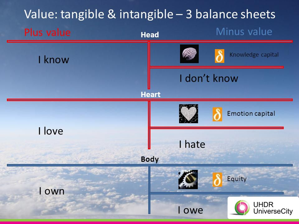 I dont know I owe I own I hate I love I know Value: tangible & intangible – 3 balance sheets Minus value Plus value Head Heart Body Equity Knowledge capital Emotion capital