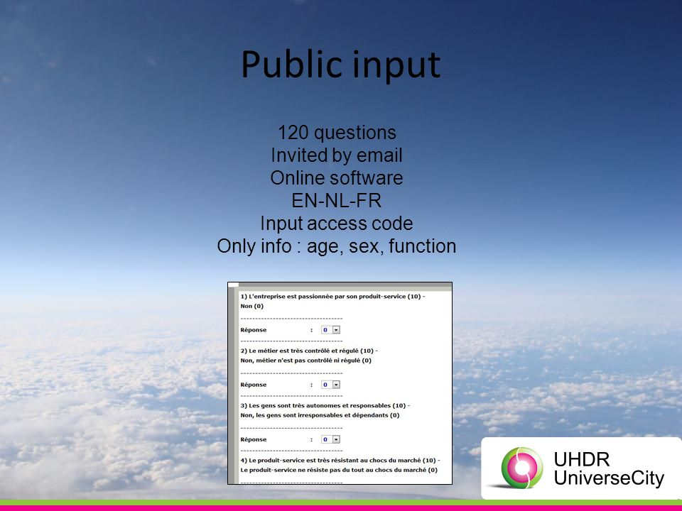 120 questions Invited by email Online software EN-NL-FR Input access code Only info : age, sex, function Public input