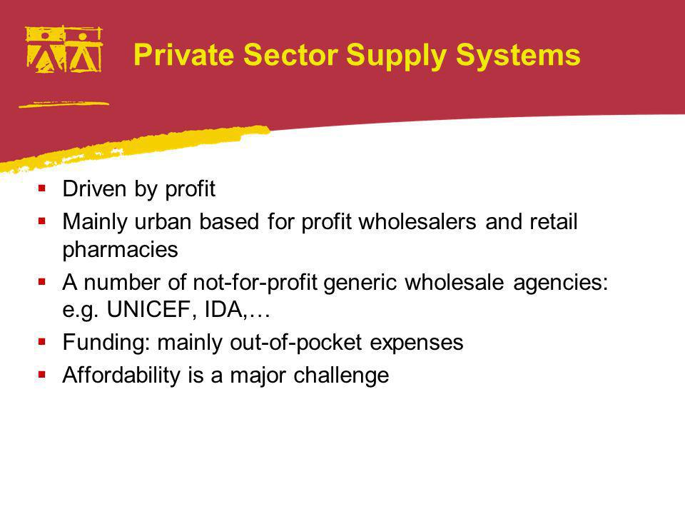 Private Sector Supply Systems Driven by profit Mainly urban based for profit wholesalers and retail pharmacies A number of not-for-profit generic wholesale agencies: e.g.