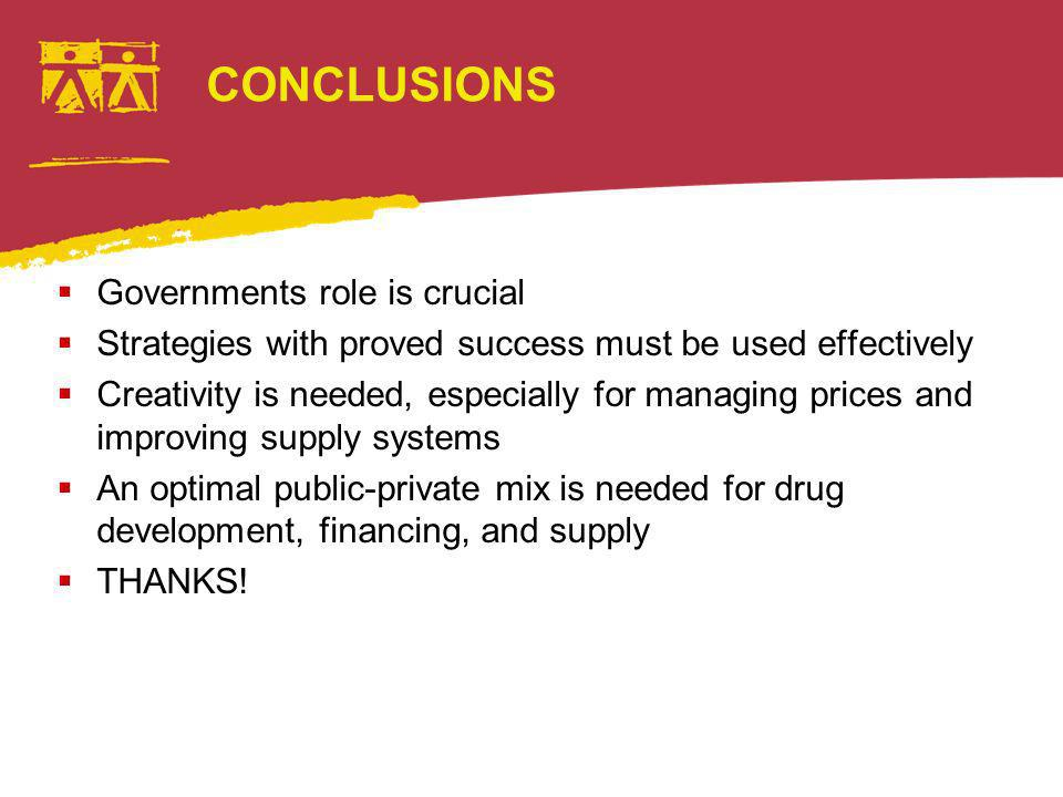 CONCLUSIONS Governments role is crucial Strategies with proved success must be used effectively Creativity is needed, especially for managing prices and improving supply systems An optimal public-private mix is needed for drug development, financing, and supply THANKS!