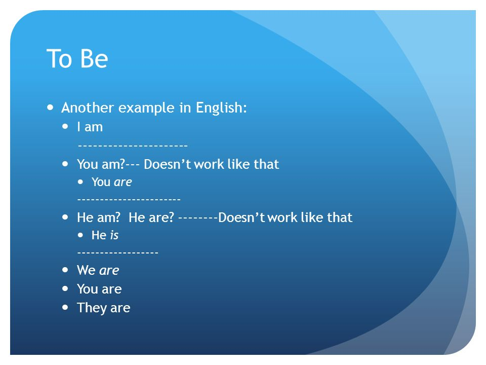 To Be Another example in English: I am ---------------------- You am --- Doesnt work like that You are ----------------------- He am.