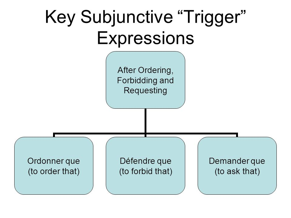 Key Subjunctive Trigger Expressions After Ordering, Forbidding and Requesting Ordonner que (to order that) Défendre que (to forbid that) Demander que (to ask that)
