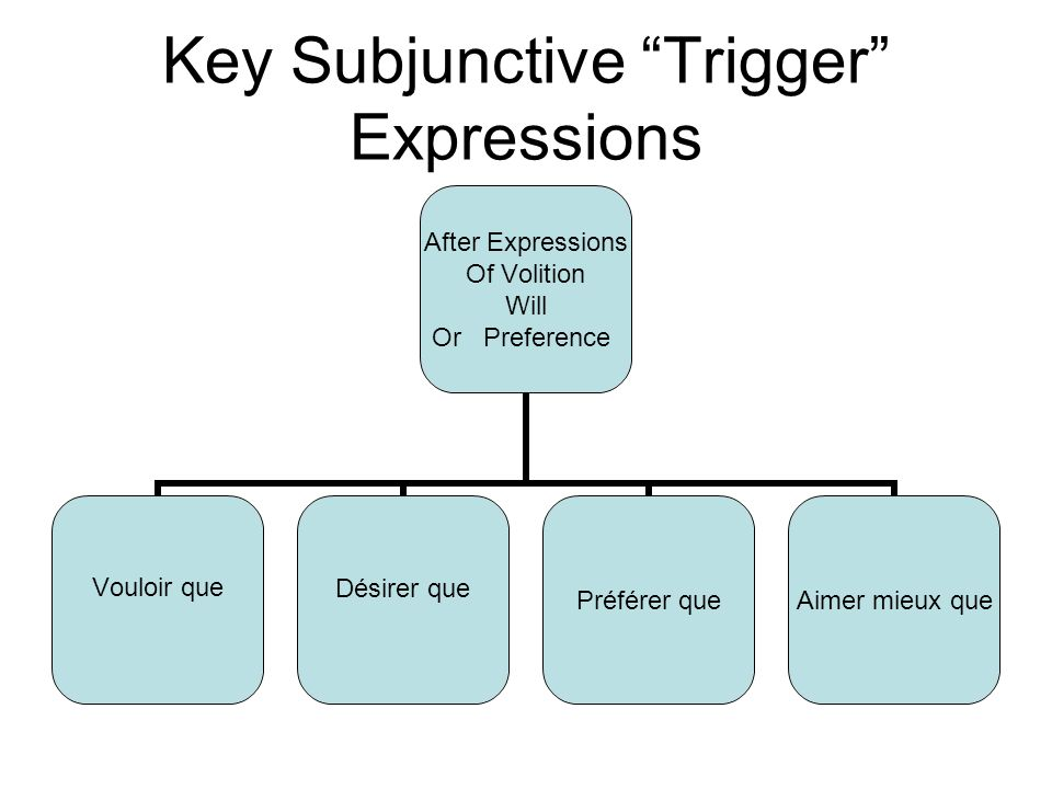 Key Subjunctive Trigger Expressions After Expressions Of Volition Will Or Preference Vouloir queDésirer que Préférer queAimer mieux que