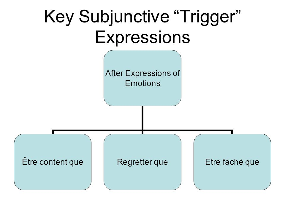 Key Subjunctive Trigger Expressions After Expressions of Emotions Être content que Regretter queEtre faché que