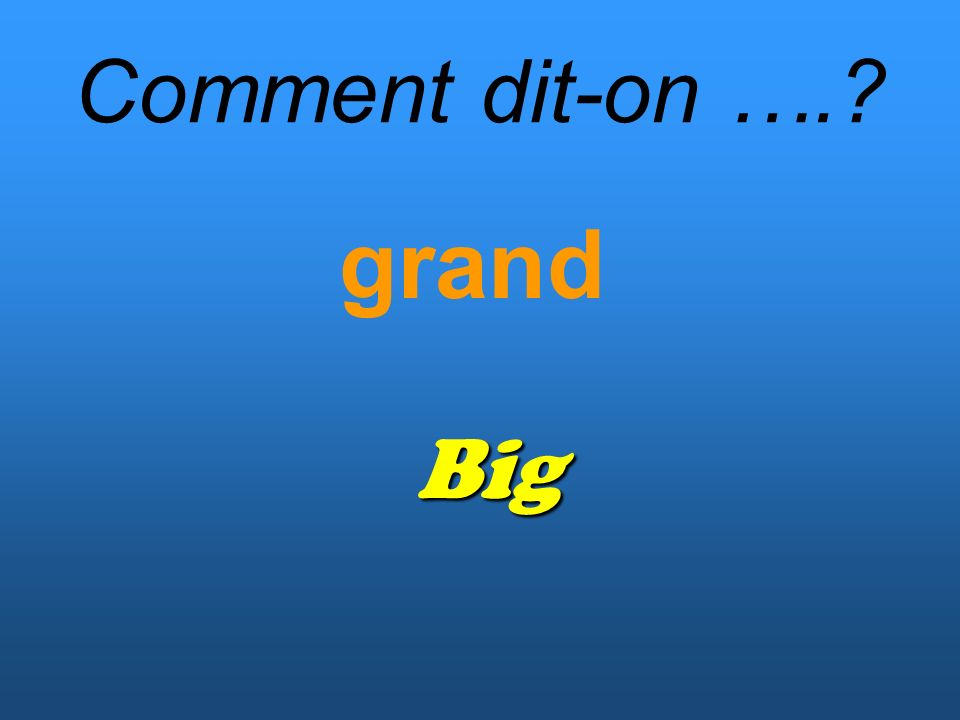Comment dit-on …. grand Big