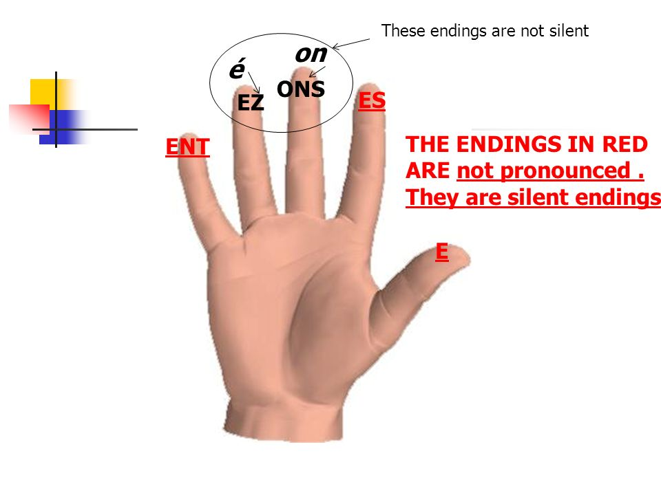 E ES ONS EZ ENT THE ENDINGS IN RED ARE not pronounced.