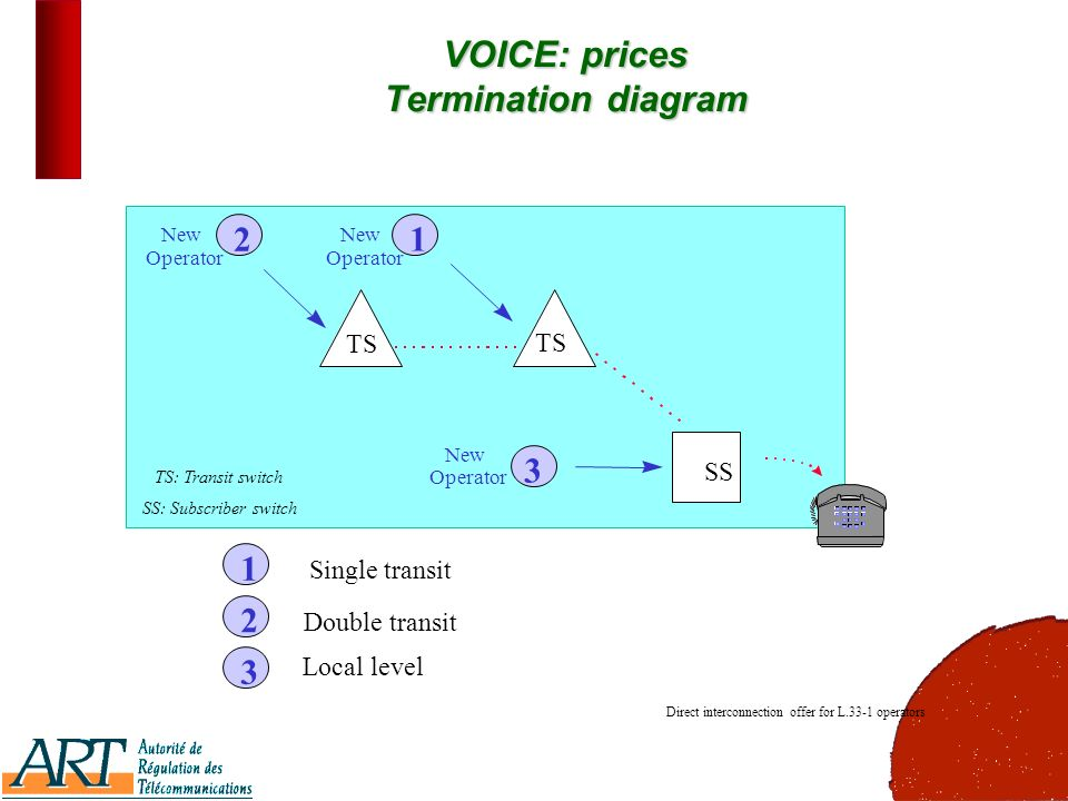 19 VOICE: prices Termination diagram 1 23 Single transit Double transit Local level 213 New Operator New Operator New Operator Direct interconnection offer for L.33-1 operators TS SS TS: Transit switch SS: Subscriber switch