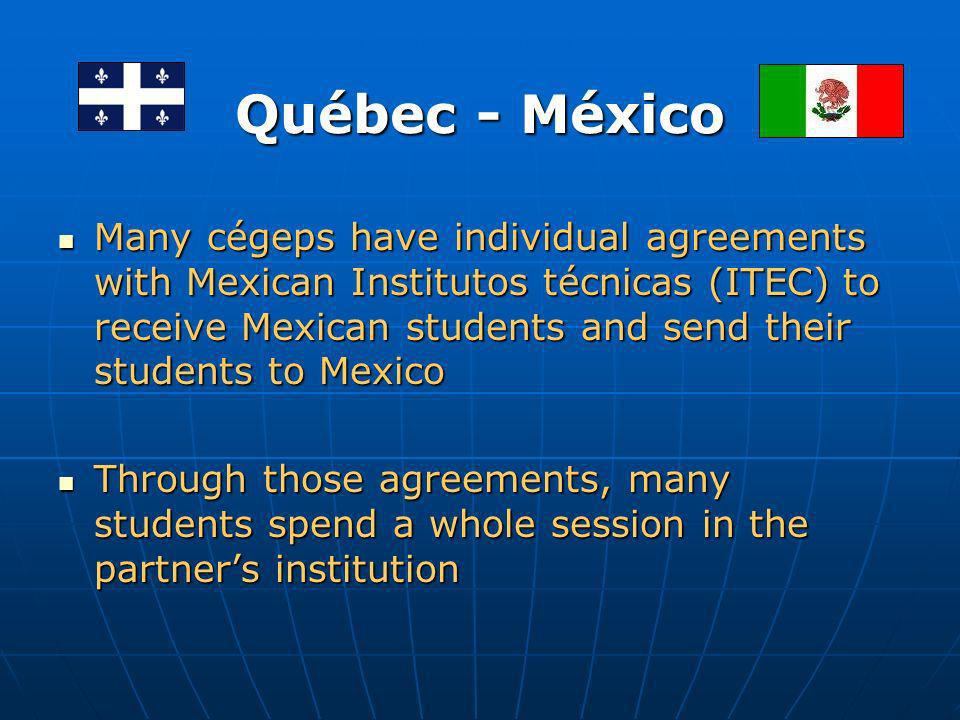 International Mobility with Mexico Cégep international has an agreement with Coordinación general de Universidades Tecnológicas (CGUT) in order to facilitate mobility between Cégeps and Technological Universities Cégep international has an agreement with Coordinación general de Universidades Tecnológicas (CGUT) in order to facilitate mobility between Cégeps and Technological Universities Québec government supports students mobility with Mexican UTs through a special mobility program allowing our students to do a session or internship in Mexico Québec government supports students mobility with Mexican UTs through a special mobility program allowing our students to do a session or internship in Mexico