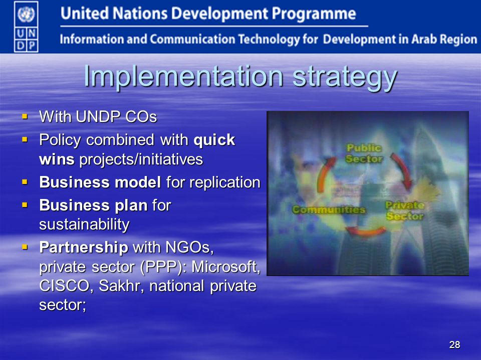 28 Implementation strategy With UNDP COs With UNDP COs Policy combined with quick wins projects/initiatives Policy combined with quick wins projects/initiatives Business model for replication Business model for replication Business plan for sustainability Business plan for sustainability Partnership with NGOs, private sector (PPP): Microsoft, CISCO, Sakhr, national private sector; Partnership with NGOs, private sector (PPP): Microsoft, CISCO, Sakhr, national private sector;