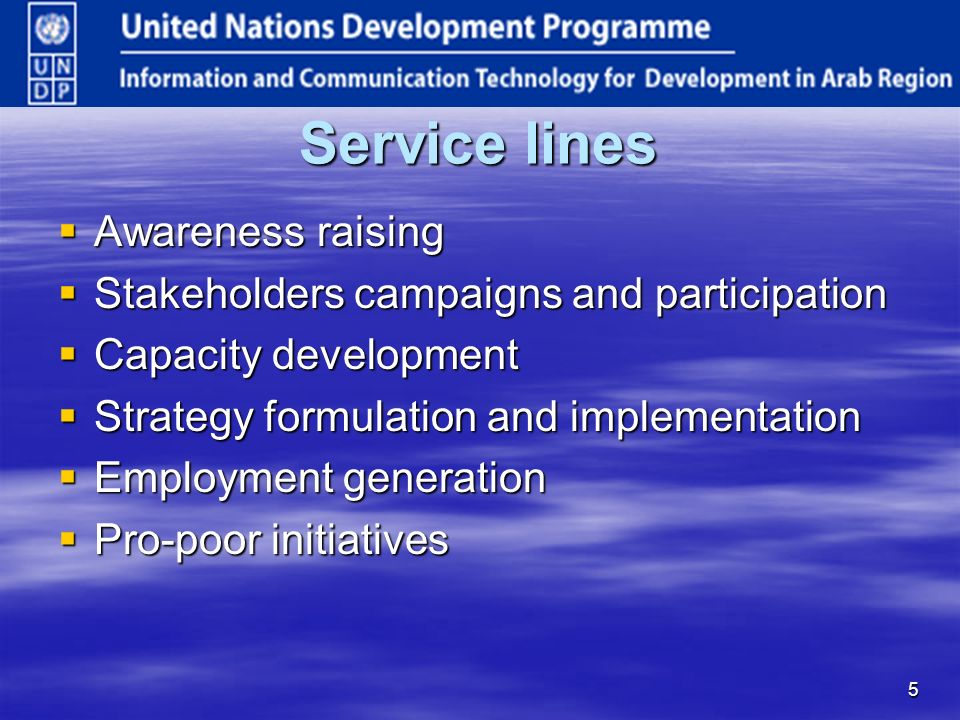 5 Service lines Awareness raising Awareness raising Stakeholders campaigns and participation Stakeholders campaigns and participation Capacity development Capacity development Strategy formulation and implementation Strategy formulation and implementation Employment generation Employment generation Pro-poor initiatives Pro-poor initiatives