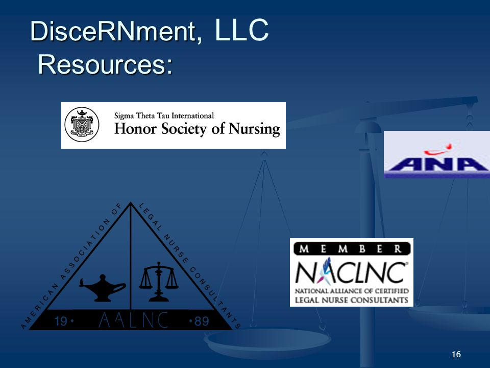 16 DisceRNment Resources: DisceRNment, LLC Resources: