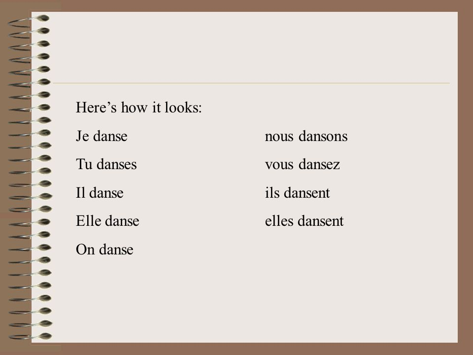 DANSER I cut off the –ER which gives me DANS. This is the base of the verb.