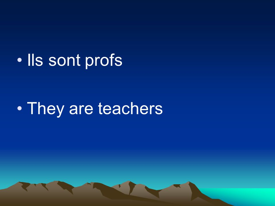 Ils sont profs They are teachers