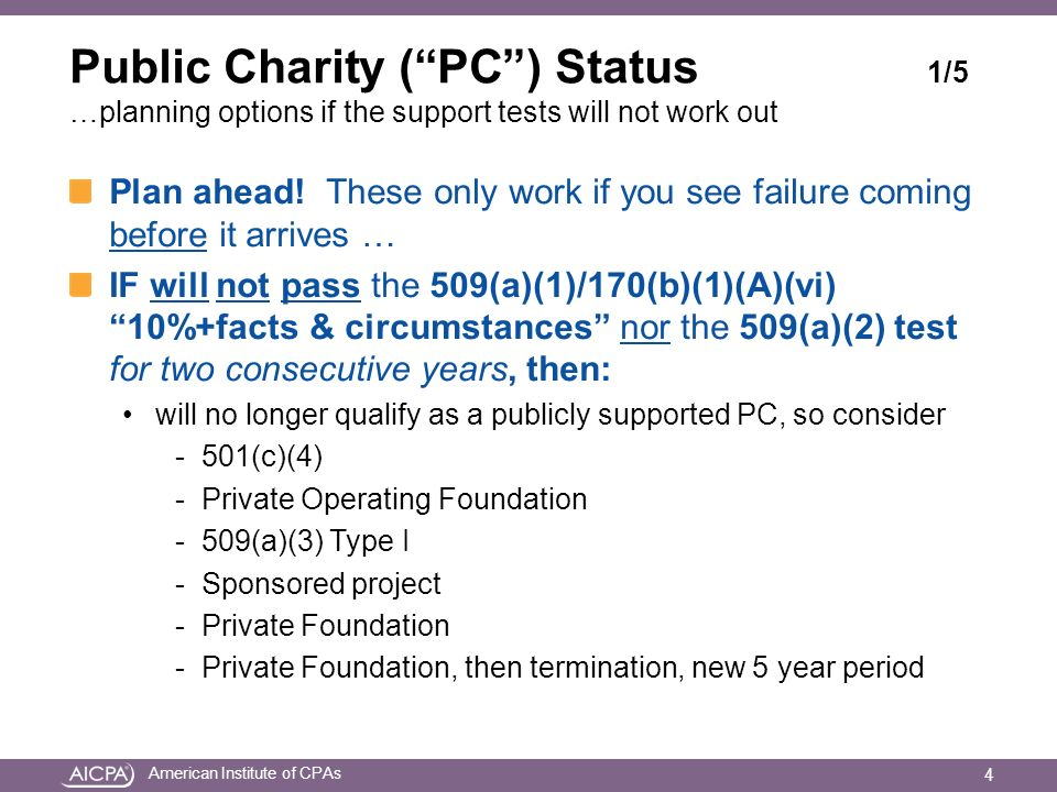 American Institute of CPAs Public Charity (PC) Status 1/5 …planning options if the support tests will not work out Plan ahead.
