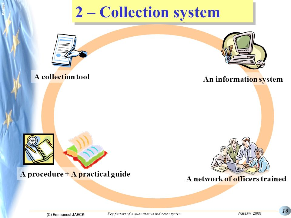 (C) Emmanuel JAECK Warsaw 2009 Key factors of a quantitative indicator system EJ – Collection system A network of officers trained An information system A collection tool A procedure + A practical guide