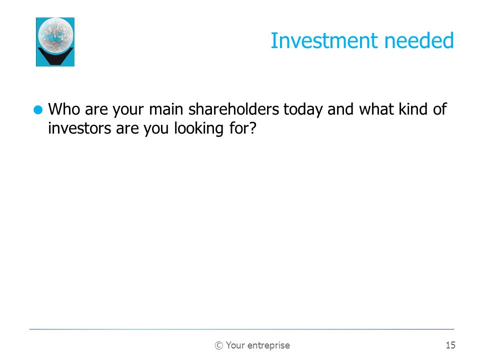 15 Who are your main shareholders today and what kind of investors are you looking for.