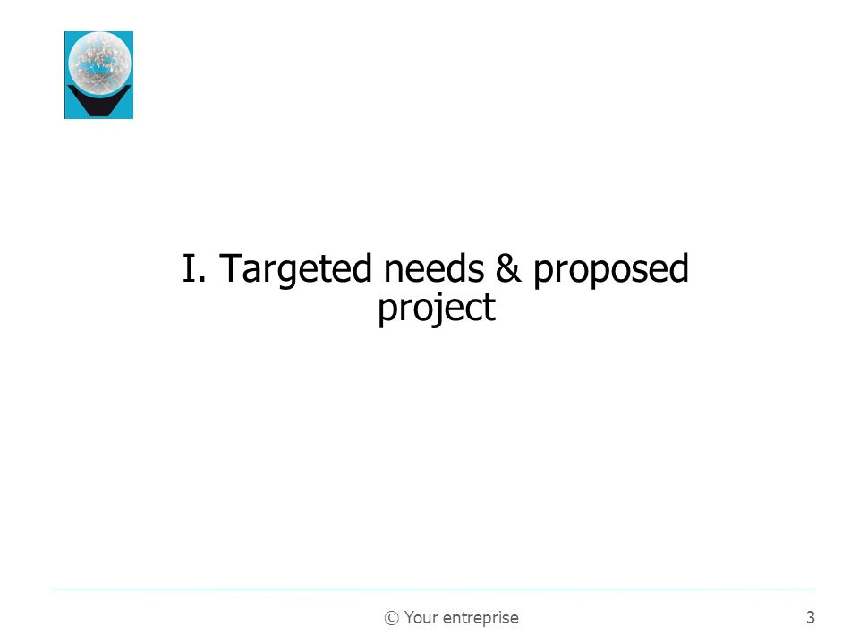 3 I. Targeted needs & proposed project © Your entreprise