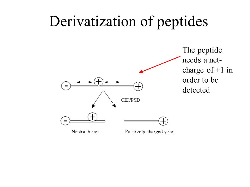 The peptide needs a net- charge of +1 in order to be detected Derivatization of peptides