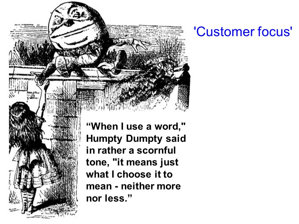 When I use a word, Humpty Dumpty said in rather a scornful tone, it means just what I choose it to mean - neither more nor less.
