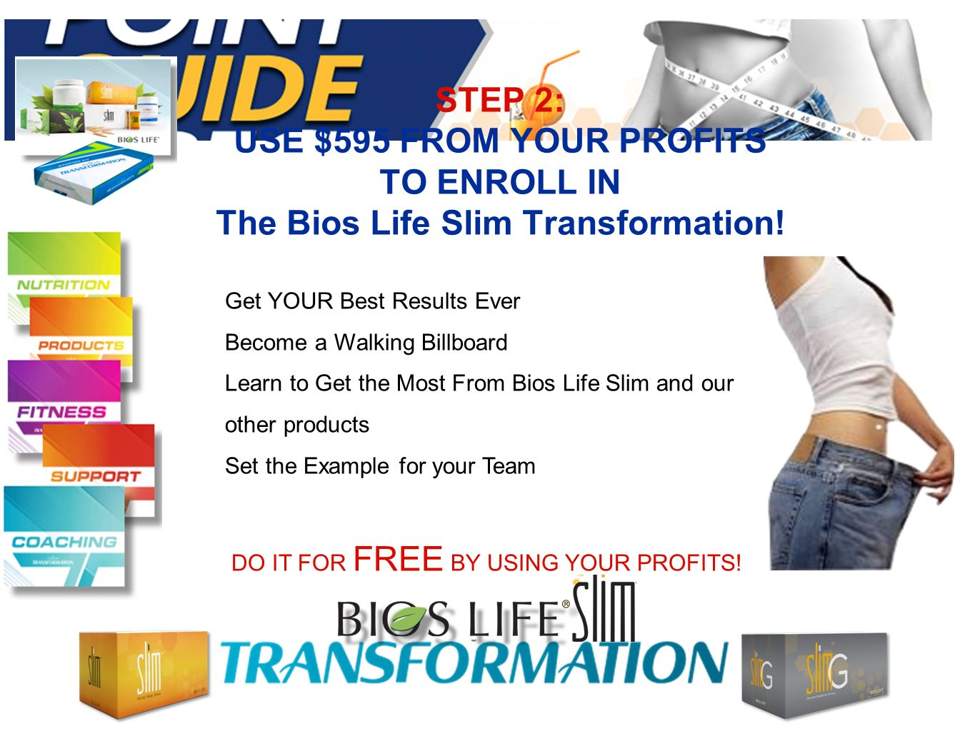 STEP 2: USE $595 FROM YOUR PROFITS TO ENROLL IN The Bios Life Slim Transformation.