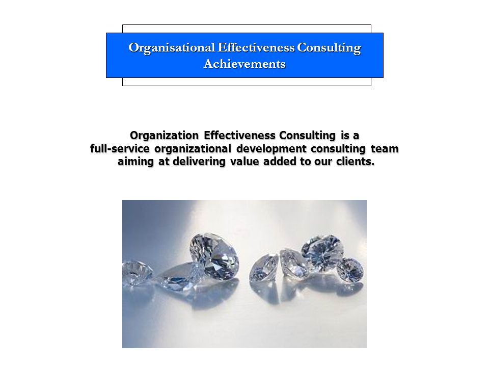 Organisational Effectiveness Consulting Achievements Organization Effectiveness Consulting is a full-service organizational development consulting team aiming at delivering value added to our clients.