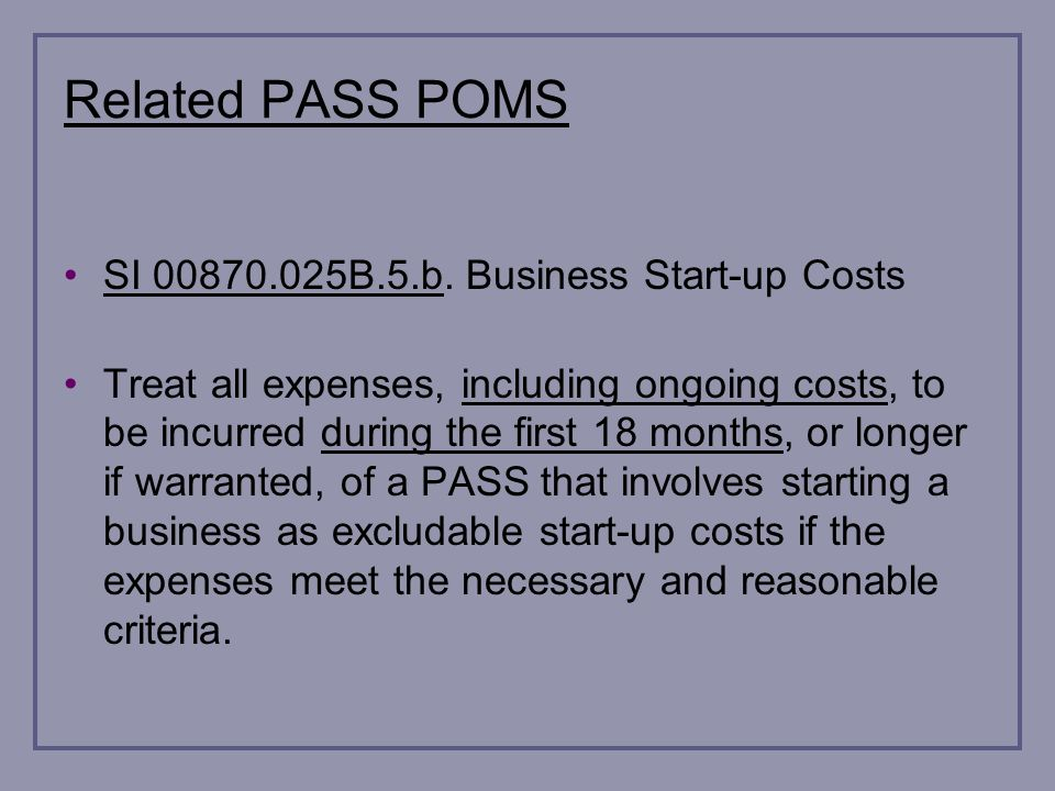 Related PASS POMS SI 00870.025B.5.b.