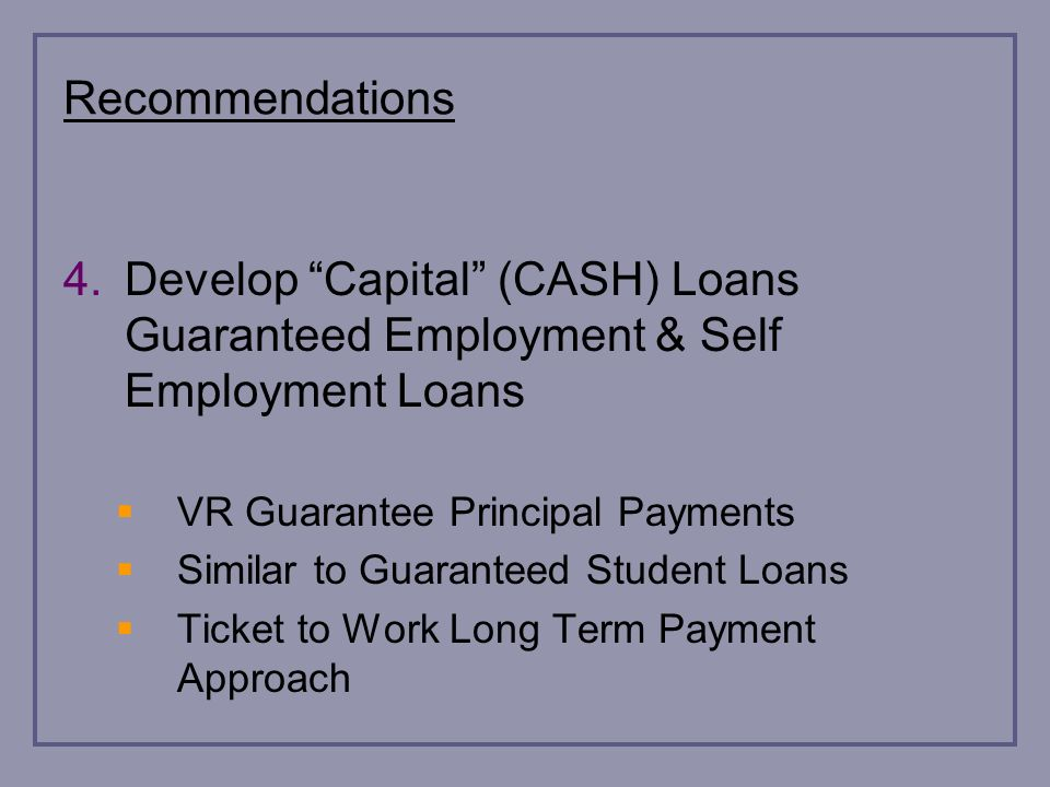 Recommendations 4.Develop Capital (CASH) Loans Guaranteed Employment & Self Employment Loans VR Guarantee Principal Payments Similar to Guaranteed Student Loans Ticket to Work Long Term Payment Approach