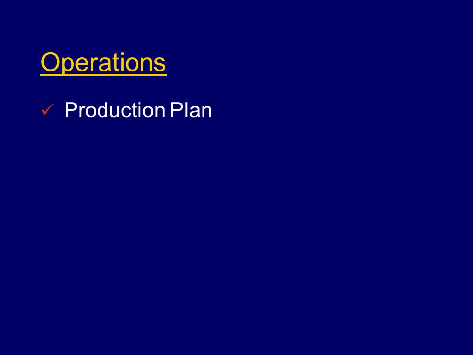 Operations Production Plan