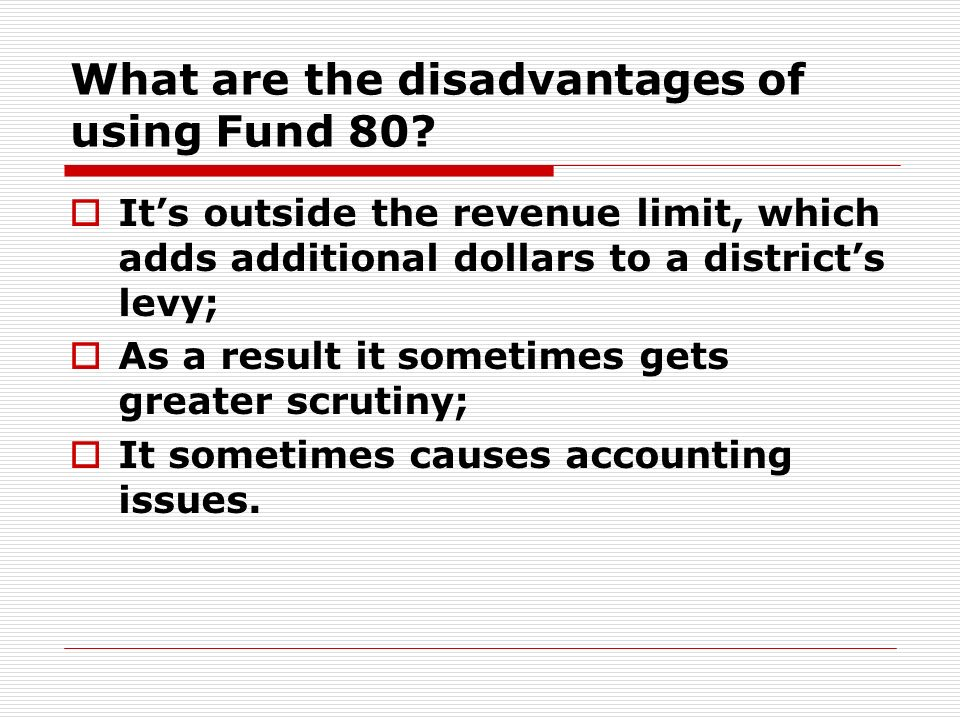 What are the disadvantages of using Fund 80.