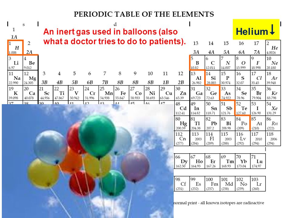 Helium An inert gas used in balloons (also what a doctor tries to do to patients).