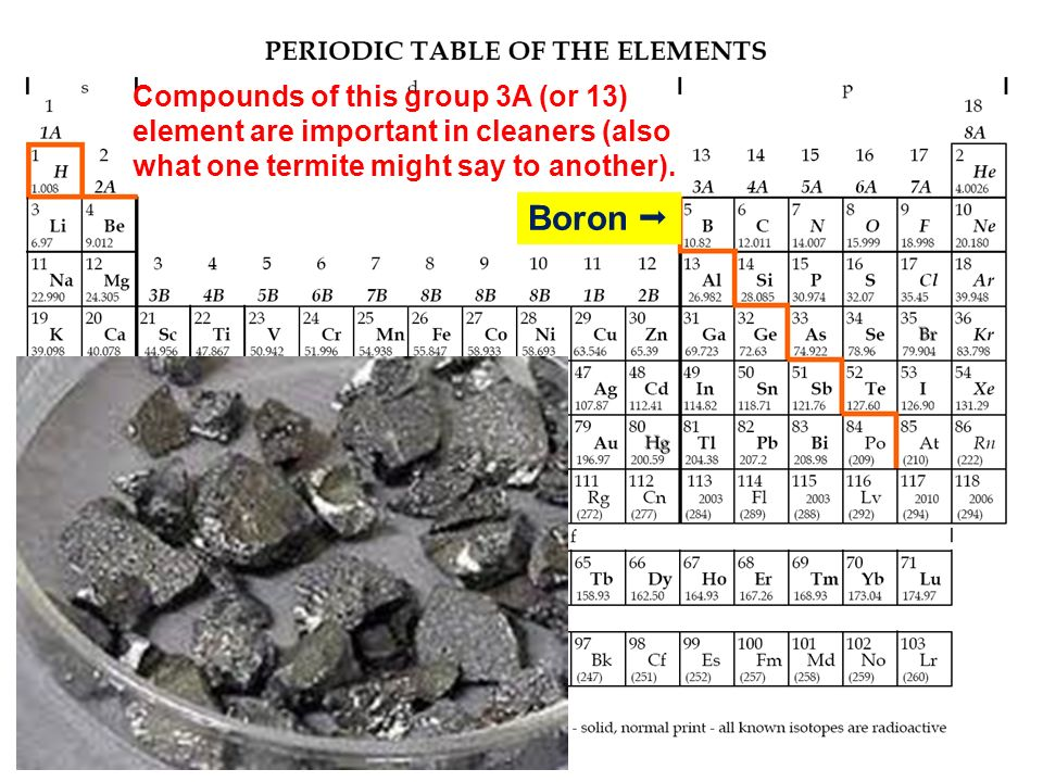 Compounds of this group 3A (or 13) element are important in cleaners (also what one termite might say to another).