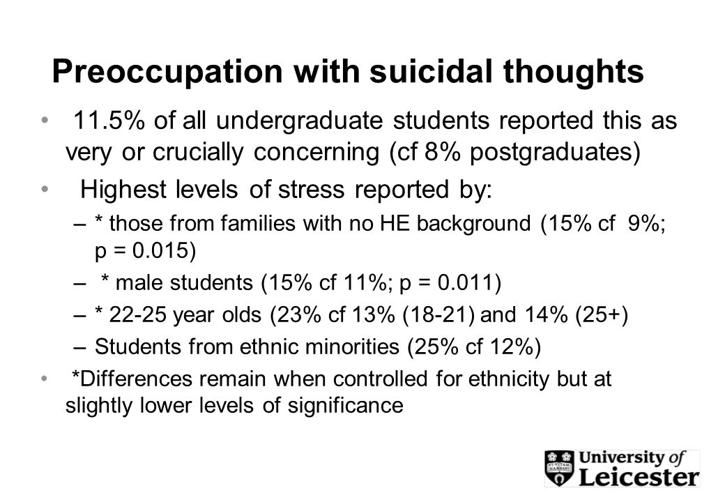 Preoccupation with suicidal thoughts 11.5% of all undergraduate students reported this as very or crucially concerning (cf 8% postgraduates) Highest levels of stress reported by: –* those from families with no HE background (15% cf 9%; p = 0.015) – * male students (15% cf 11%; p = 0.011) –* year olds (23% cf 13% (18-21) and 14% (25+) –Students from ethnic minorities (25% cf 12%) *Differences remain when controlled for ethnicity but at slightly lower levels of significance