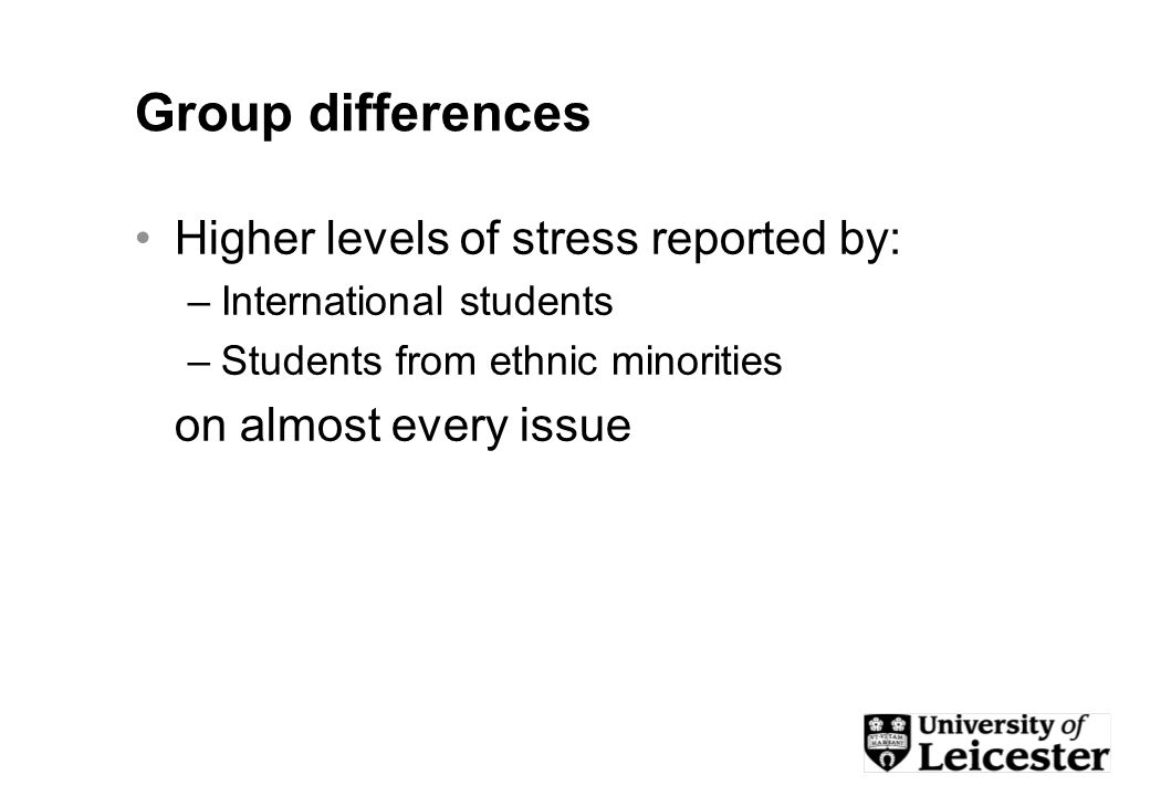 Group differences Higher levels of stress reported by: –International students –Students from ethnic minorities on almost every issue